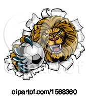 Tough Lion Sports Mascot Holding Out A Soccer Ball And Breaking Through A Wall
