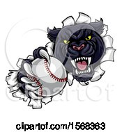 Clipart Of A Black Panther Mascot Breaking Through A Wall With A Baseball Royalty Free Vector Illustration by AtStockIllustration
