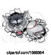 Clipart Of A Tough Wolf Monster Mascot Holding Out A Baseball In One Clawed Paw And Breaking Through A Wall Royalty Free Vector Illustration