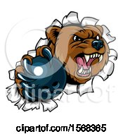 Bear Sports Mascot Breaking Through A Wall With A Bowling Ball In A Paw