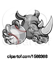 Clipart Of A Tough Rhino Monster Mascot Holding Out A Baseball In One Clawed Paw Royalty Free Vector Illustration by AtStockIllustration