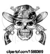 Poster, Art Print Of Cowboy Sheriff Skull Over Crossed Guns In Black And White