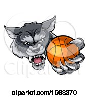 Poster, Art Print Of Tough Wolf Monster Mascot Holding Out A Basketball In One Clawed Paw