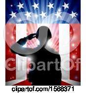 Clipart Of A Silhouetted Full Length Male Military Veteran Saluting Over An American Themed Flag And Bursts Royalty Free Vector Illustration