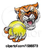 Vicious Tiger Sports Mascot Grabbing A Tennis Ball