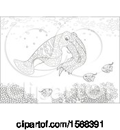 Lineart Cuttlefish Over A Reef