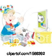 Poster, Art Print Of Fan Sitting On The Floor With Food And A Ball Watching Soccer On Tv