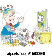 Poster, Art Print Of Sports Fan Sitting On The Floor With Food And A Ball Watching Soccer On Tv