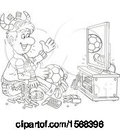 Clipart Of A Lineart Sports Fan Sitting On The Floor With Food And A Ball Watching Soccer On Tv Royalty Free Vector Illustration