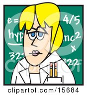 Blond Female Teacher Standing In Front Of A Chalkboard In A Classroom Clipart Illustration by Andy Nortnik