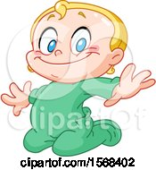 Blond Baby Boy Kneeling In Green Pajamas