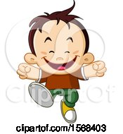 Clipart Of A Brunette Boy Running Royalty Free Vector Illustration