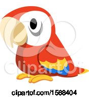 Clipart Of A Cute Scarlet Macaw Parrot Royalty Free Vector Illustration