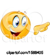 Clipart Of A Yellow Emoji Emoticon Pointing To The Right Royalty Free Vector Illustration