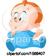 Poster, Art Print Of Wondering Baby Boy In Blue Pajamas