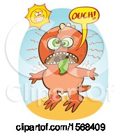 Clipart Of A Dinosaur With An Extreme Sun Burn Royalty Free Vector Illustration