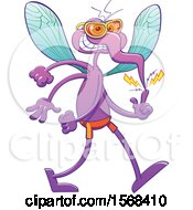Clipart Of A Mischievous Mosquito Ready To Wreak Havoc On Summer Time Royalty Free Vector Illustration