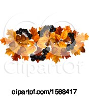 Clipart Of A Festive Autumn Leaf Design With Black Currants And Acorns Royalty Free Vector Illustration
