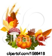Clipart Of A Festive Autumn Leaf Design With Wheat Pumpkin And Mushroom Royalty Free Vector Illustration