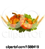 Clipart Of A Festive Autumn Leaf Design With Wheat And Pumpkins Royalty Free Vector Illustration