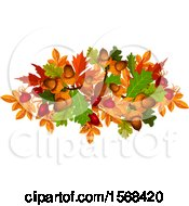Clipart Of A Festive Autumn Leaf Design With Acorns And Rosehips Royalty Free Vector Illustration