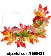 Clipart Of A Festive Autumn Leaf Design With Currants And Pinecones Royalty Free Vector Illustration