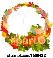 Clipart Of A Festive Autumn Leaf Design With A Gourd And Pumpkin Royalty Free Vector Illustration