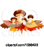 Clipart Of A Festive Autumn Leaf Design With Mushrooms Royalty Free Vector Illustration by Vector Tradition SM