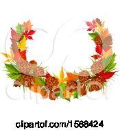 Clipart Of A Festive Autumn Leaf Design With Pinecones Royalty Free Vector Illustration