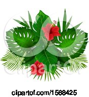 Poster, Art Print Of Design Of Red Hibiscus Flowers And Tropical Foliage
