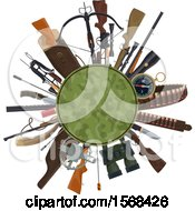 Clipart Of A Hunting Equipment Design With Camo Royalty Free Vector Illustration