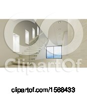 Clipart Of A 3d Stairway And Empty Room Interior Royalty Free Illustration by KJ Pargeter