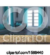 Clipart Of A 3d Wood Counter With Blurred Living Room Interior Royalty Free Illustration