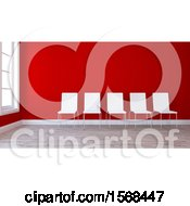 Clipart Of A 3d Red Room Interior With Chairs Royalty Free Illustration