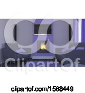 Clipart Of A 3d Fireplace And Living Room Interior Royalty Free Illustration