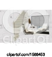 Clipart Of A Sketched Turning 3d Modern Room Interior Royalty Free Illustration by KJ Pargeter
