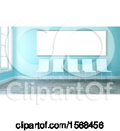 Clipart Of A 3d Blue Room Interior With Chairs Royalty Free Illustration