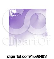Poster, Art Print Of Purple Watercolor Square And Splatters With A White Border