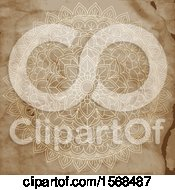 Clipart Of A Mandala On Aged Stained Paper Royalty Free Vector Illustration