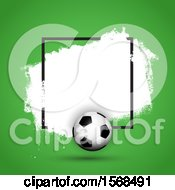 3d Soccer Ball Frame With White Grunge On Green