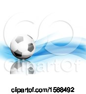 3d Soccer Ball And Blue Waves