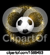 3d Soccer Ball In A Gold Glittery Frame