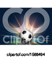 3d Soccer Ball And Colorful Burst