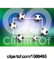 3d Soccer Ball Frame On Green And Blue