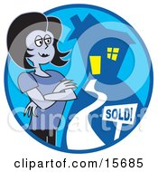 Successful Female Realtor Standing By A Sold Sign In Front Of A House Clipart Illustration by Andy Nortnik