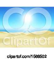 Clipart Of A Sandy Beach On A Sunny Day Royalty Free Illustration