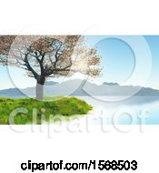 Clipart Of A 3d Cherry Tree On A Lake Shore Royalty Free Illustration