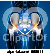 Clipart Of A 3d Woman With Red Highlighted Hip Pain On A Blue Background Royalty Free Illustration