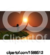 Clipart Of A 3d Silhouetted Woman Doing Yoga On A Lake Shore At Sunset Royalty Free Illustration