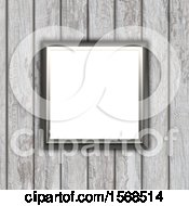 Clipart Of A 3d Blank Picture Fame On A Wood Wall Royalty Free Illustration